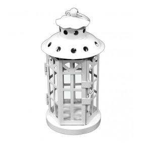 Lampion Metalowy Garden latarnia biała 18cm