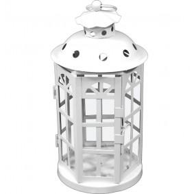 Lampion Metalowy Garden latarnia biała 26cm