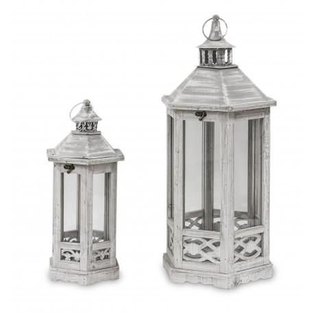 Drewniane lampiony, Komplet 2szt. 66cm i 49cm