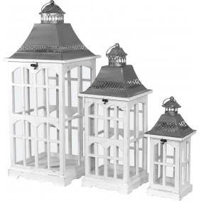 Białe wieże - komplet 3 lampionów drewnianych
