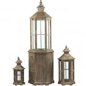 Lampiony Drewniane (zestaw 3 duże  latarnie)