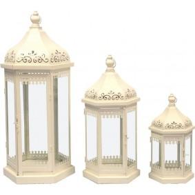 3 x Lampion Metalowy (Zestaw Retro Wieża) BEŻ