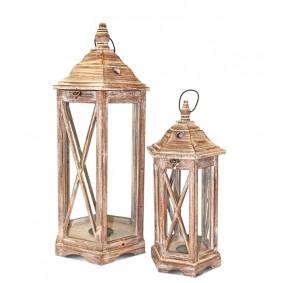 2x Lampiony Drewniane Komplet BRĄZ