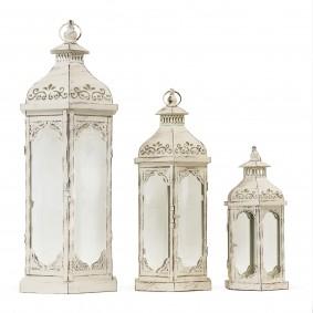 3 x Duże Lampiony Metalowe (Zestaw Retro Wieża) KREM