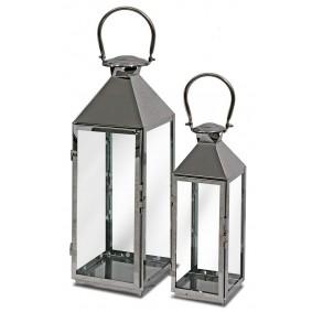 Nowoczesne lampiony ze stali, srebrne Komplet 2 szt.
