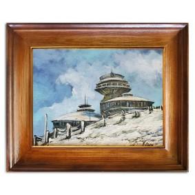 Obraz olejny w ramie polskie góry Śnieżka 37x47cm