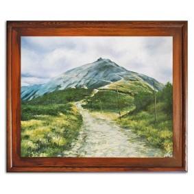 Obraz olejny w ramie polskie góry Śnieżka 53x64cm