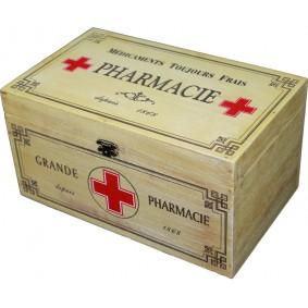 Drewniana skrzyneczka retro Pharmacie - apteczka