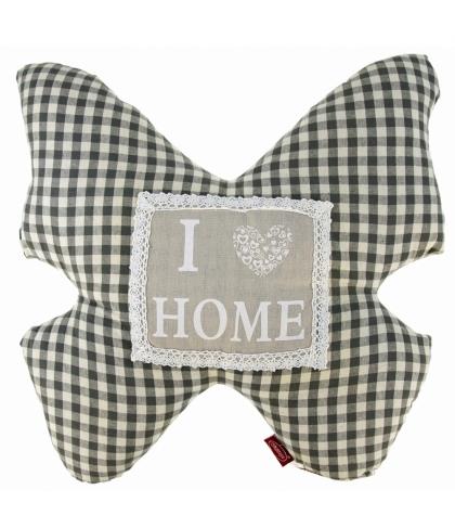 I Love Home- poduszka motyl - szara krata (len + poliester)