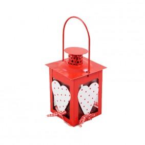 Lampion świąteczny - serce czerwony 18 cm