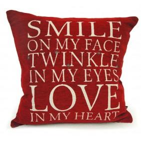 Poszewka gobelinowa 45x45 cm  SMILE! (czerwona)