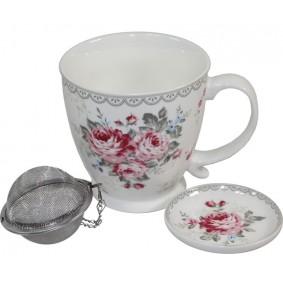 Porcelanowy Kubek Jumbo z Zaparzaczem Sweet Daisy 'Róże'