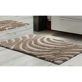 Inspiracja FALE II - dywanik łazienkowy 45/60cm BRĄZ+KREM