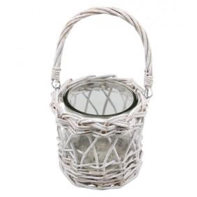 Koszyczek wiklinowy - świecznik biały