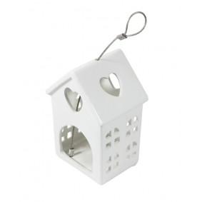 Biały Ceramiczny lampion domek 15,5 cm