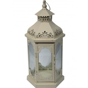 Biały Lampion Metalowy Elegant 43 cm