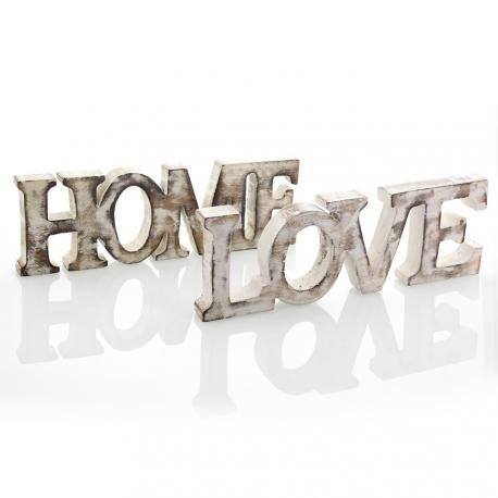 Drewniany Napis HOME  10cm/30cm BIELONY