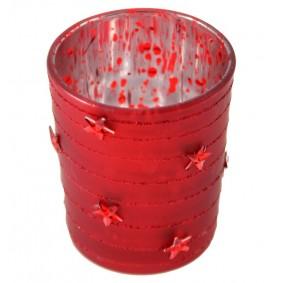 Czerwony szklany świecznik gwiazdki 7x5,5 cm