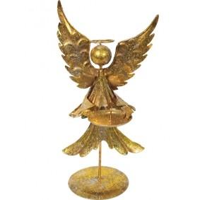 Anioł - Złoty Świecznik Metalowy