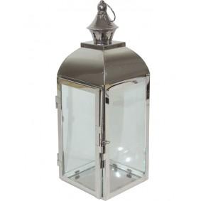 Lampion Metalowy Srebrny Nowoczesny 38,5cm