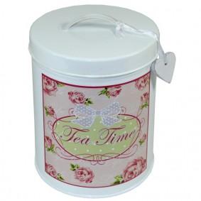 Pojemnik na Herbatę Metalowy Róże 'Tea Time'