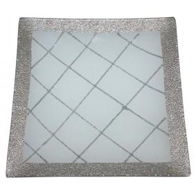 Talerz Szklany Dekoracyjny Srebro 20x20 cm Laura
