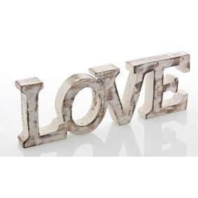Drewniany Napis LOVE  10cm/30cm BIELONY