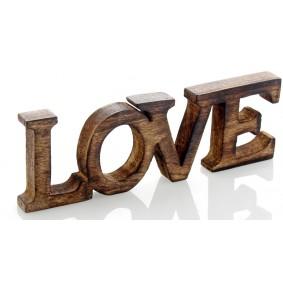 Drewniany Napis LOVE 10cm/30cm BRĄZOWY