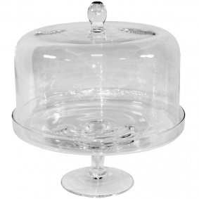 Szklana Patera na ciasto z kloszem Śr. 29 cm
