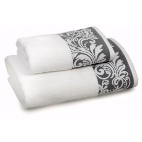 INSPIRACJA FELICIANA ręcznik 50/100cm- biel + szara lamówka