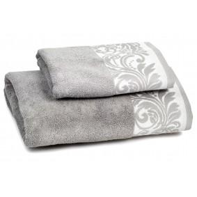 INSPIRACJA FELICIANA ręcznik 70/140cm - szary + biała lamówka