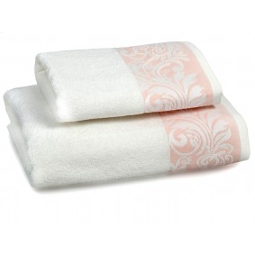 INSPIRACJA FELICIANA ręcznik 50/100cm  krem + morelowa lamówka