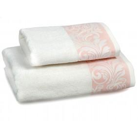 INSPIRACJA FELICIANA ręcznik 70/140cm - krem + morelowa lamówka