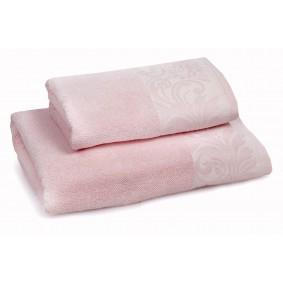 INSPIRACJA FELICIANA ręcznik 70/140cm - róż + krem. lamówka