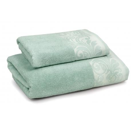 INSPIRACJA FELICIANA ręcznik 70/140cm  mięta + krem. lamówka