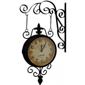 Duży Zegar Ścienny Wiszący Bokiem - metalowy, czarny