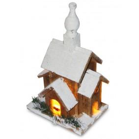 Drewniany domek LED 28 cm Świąteczna dekoracja