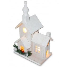Drewniany Biały domek LED 33 cm Świąteczna dekoracja