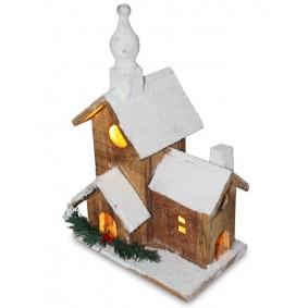 Dekoracja świąteczna domek LED 33 cm drewniany
