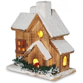 Drewniany domek LED 20,5 cm Świąteczna dekoracja