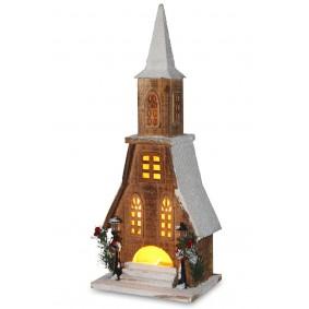 Drewniany Brązowy domek LED 49 cm Świąteczna dekoracja