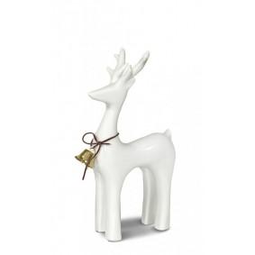 Figurka świąteczna ceramiczny renifer biały 16cm