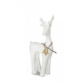 Figurka świąteczna ceramiczny renifer biały II 16cm