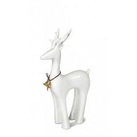 Figurka świąteczna ceramiczny renifer biały 22cm