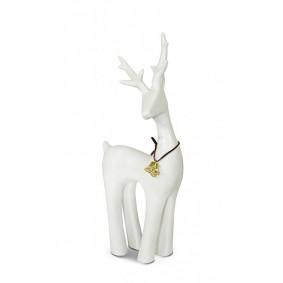 Figurka świąteczna ceramiczny renifer biały II 29cm