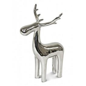 Figurka Renifer Ceramiczny Srebrny 14cm