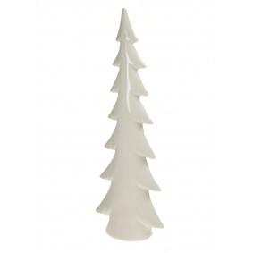 Figurka świąteczna ceramiczna choinka biała 35,8 cm