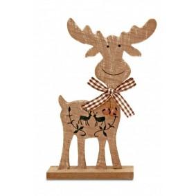 Figurka Świąteczna Drewniany Renifer 15cm