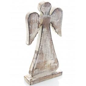 Drewniany Anioł 31cm/15cm BIELONY