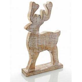 Drewniany Renifer 32cm/17cm BIELONY